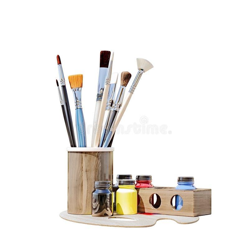 Geïsoleerd op witte, schone penselen met diverse kleurenverven op een oude houten lijst met aard op achtergrond vector illustratie