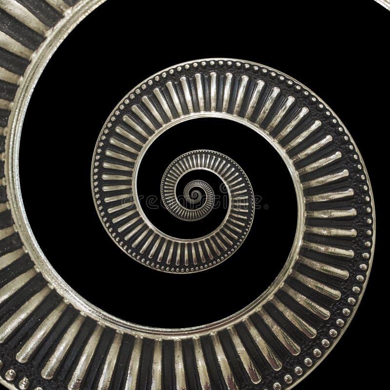 Geïsoleerd op zwarte metaal abstracte spiraalvormige achtergrondpatroonfractal Metaalachtergrond, herhaald patroon Metaal spiraal stock foto's