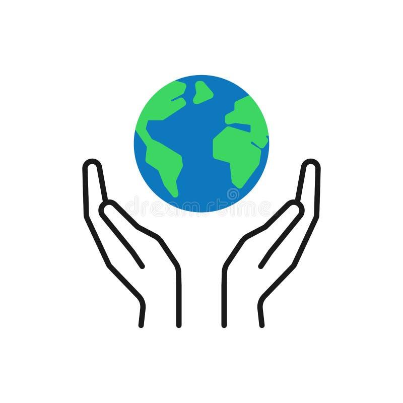 Geïsoleerd overzichtspictogram van groene planeet, aarde in zwarte handen op witte achtergrond Van de kleurenbol en lijn handen S stock illustratie