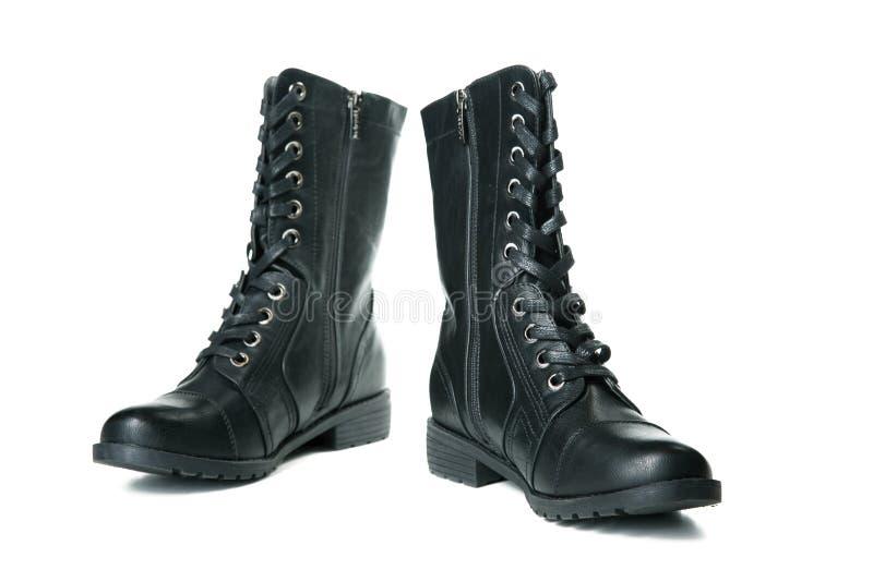 Geïsoleerd paar zwarte vrouwelijke schoenen royalty-vrije stock foto