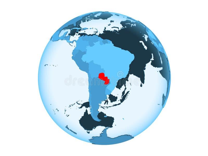 Geïsoleerd Paraguay op blauwe bol royalty-vrije illustratie