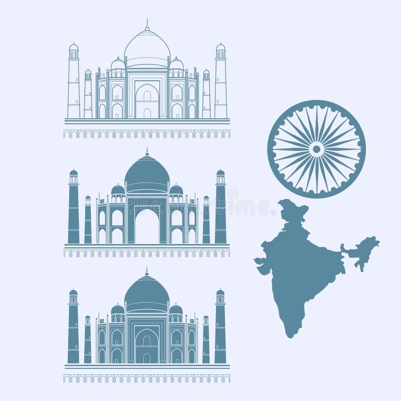 Geïsoleerd pictogram Taj Mahal en kaart van India Vector illustratie vector illustratie