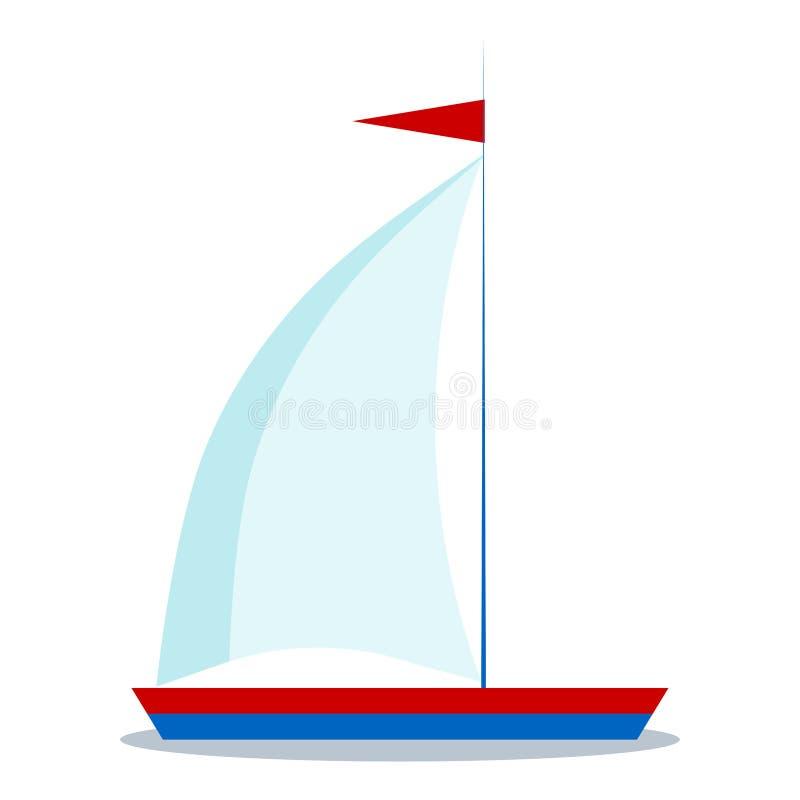 Geïsoleerd pictogram van beeldverhaal blauwe en rode zeilboot met één zeil op witte achtergrond vector illustratie