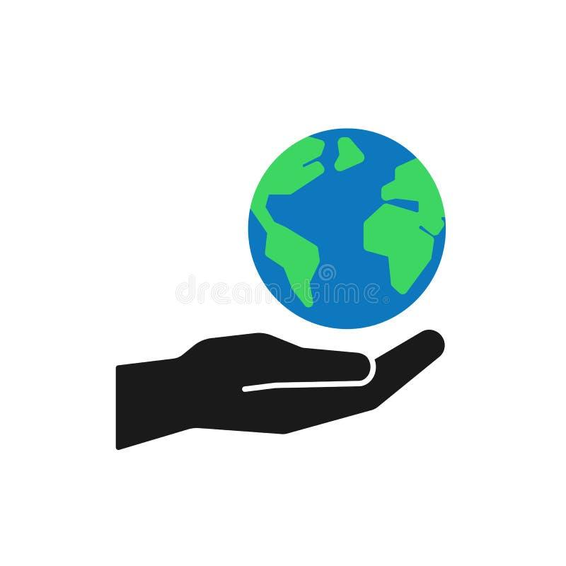 Geïsoleerd pictogram van groene planeet, aarde in zwarte hand op witte achtergrond Kleurenbol en hand Symbool van zorg, beschermi stock illustratie