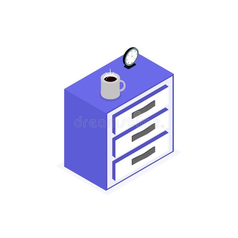 Geïsoleerd pictogram van isometrische nightstand vector illustratie