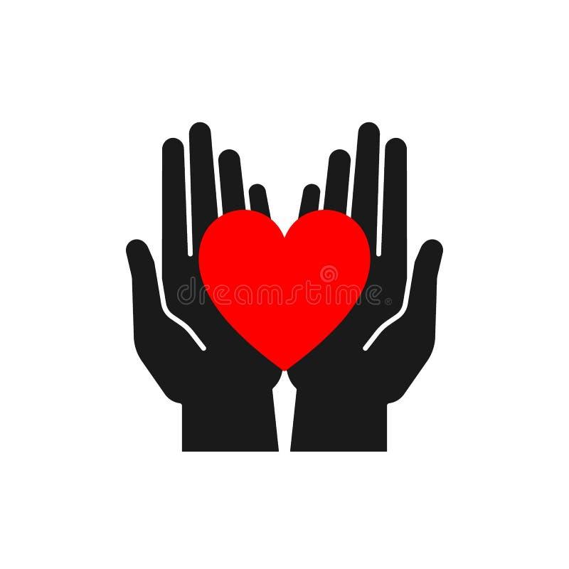 Ge?soleerd pictogram van rood hart in zwarte open handen op witte achtergrond Silhouet van hart en handen Symbool van zorg, liefd vector illustratie