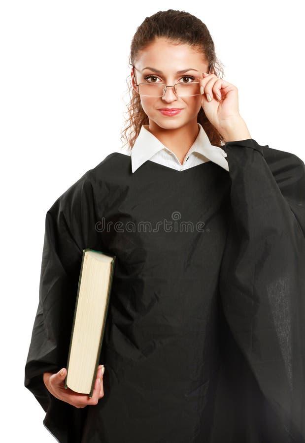 geïsoleerd portret van een jonge vrouwelijke rechter, royalty-vrije stock fotografie