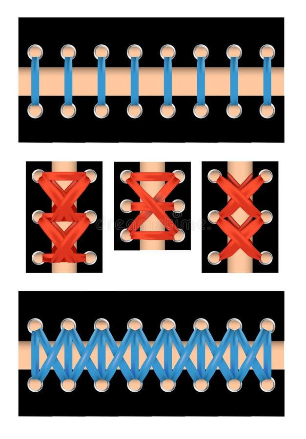 Geïsoleerd rijgend reeks met verschillende stijlen en kleuren voor druk Vector illustratie vector illustratie