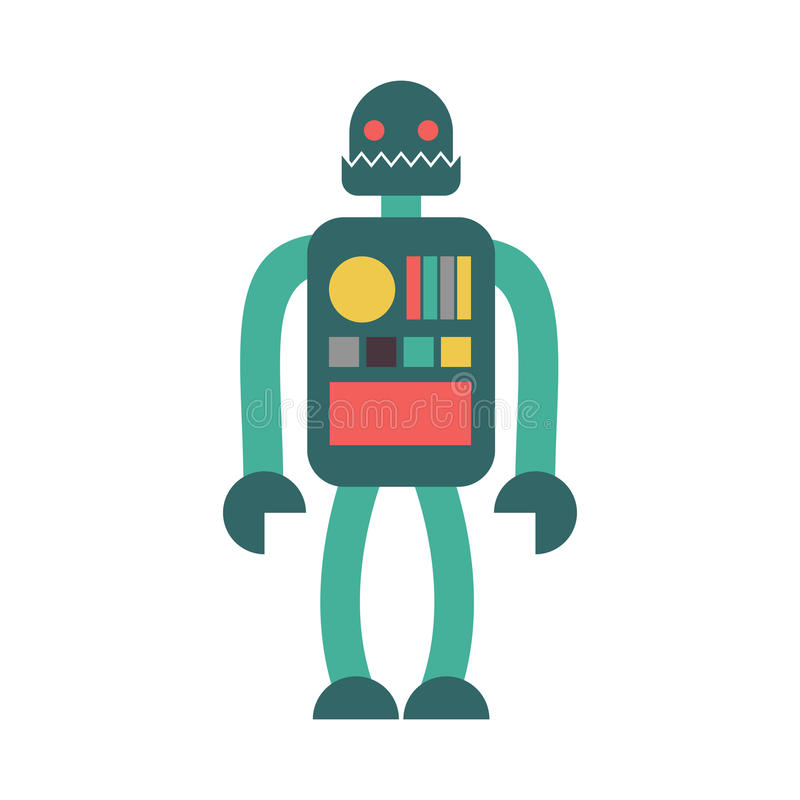 Geïsoleerd robot Retro stuk speelgoed Uitstekende Cyborg op witte achtergrond vector illustratie