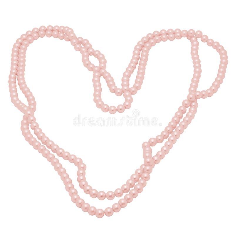 Geïsoleerd Salmon Colored Pearl Necklace in de vorm van een Hart stock illustratie