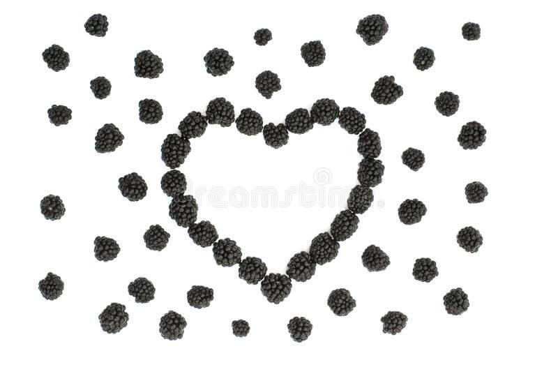 Geïsoleerd sappig hart van braambessen royalty-vrije stock afbeelding