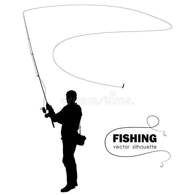 Geïsoleerd silhouet van visser De visser werpt het spinnen vector illustratie