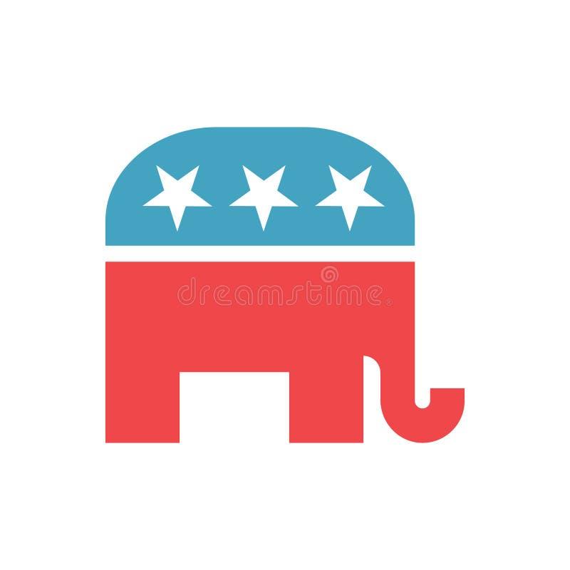 Geïsoleerd teken van Republikeinse Partij van Verenigde Staten Vector republikeins olifantsembleem Republikeins Olifantspictogram royalty-vrije illustratie