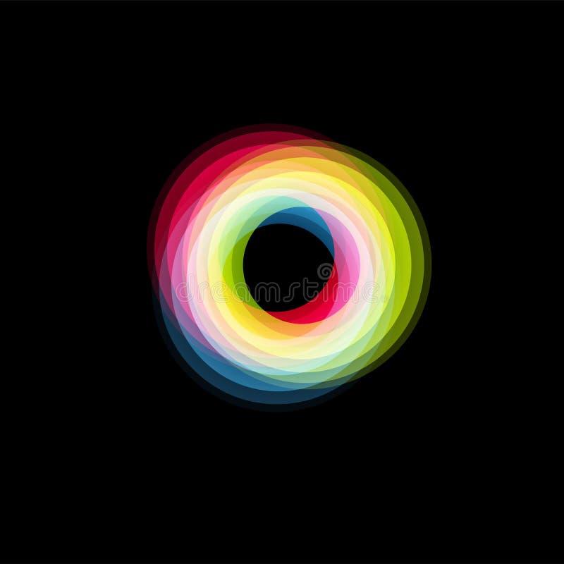Geïsoleerd trechter abstract embleem, lineaire ongebruikelijke vorm, cirkellijn logotype De lichtgevende hoepels, ringen, rijden  royalty-vrije illustratie