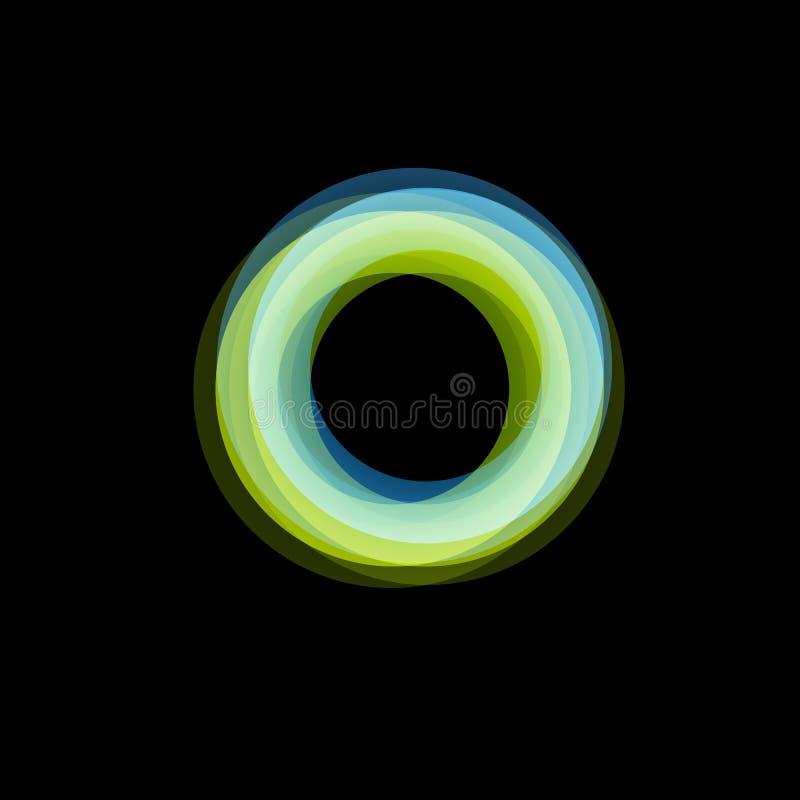 Geïsoleerd trechter abstract embleem, lineaire ongebruikelijke vorm, cirkellijn logotype De lichtgevende hoepels, ringen, rijden  stock illustratie