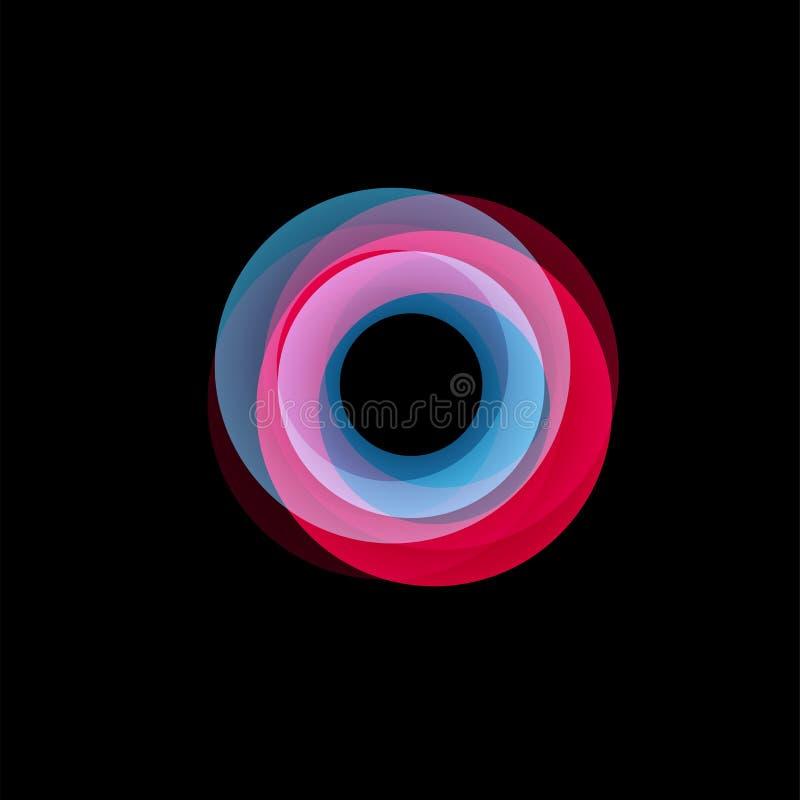 Geïsoleerd trechter abstract embleem, lineaire ongebruikelijke vorm, cirkellijn logotype De lichtgevende hoepels, ringen, rijden  vector illustratie