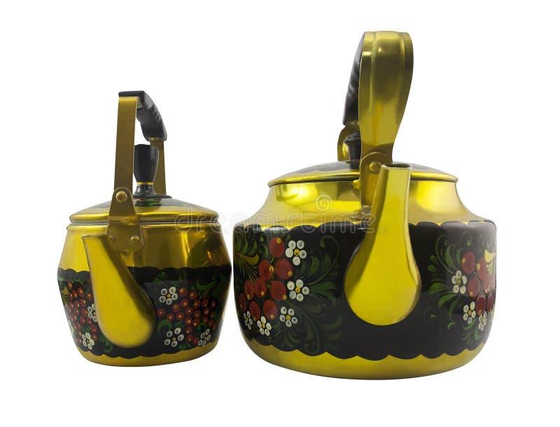 Geïsoleerd twee retro Russische stijlketels met Khokhloma royalty-vrije stock afbeeldingen