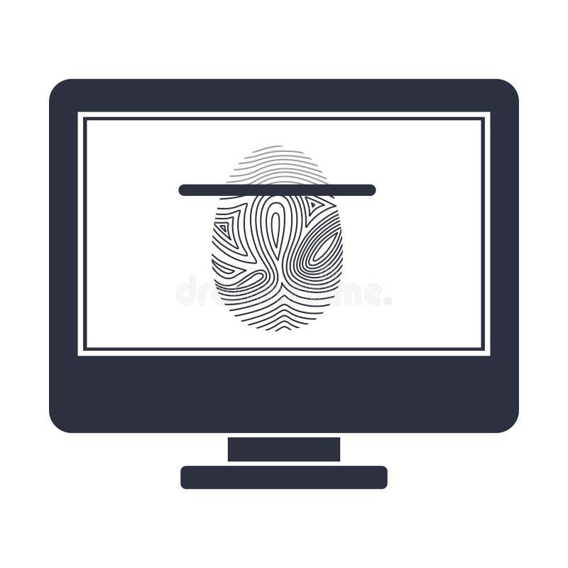 Geïsoleerd vingerafdruk en computerontwerp vector illustratie