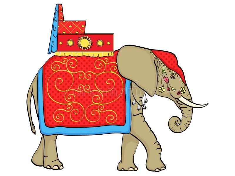 Geïsoleerd voorwerp op witte achtergrond, Olifant in India, een heilig dier, decoratie voor een vakantie Vector stock illustratie