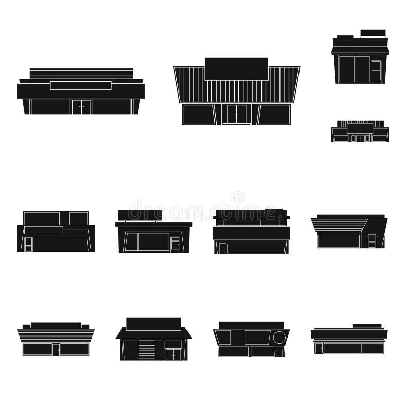 Geïsoleerd voorwerp van architectuur en cityscape pictogram Inzameling van architectuur en het symbool van de supermarktvoorraad  stock illustratie