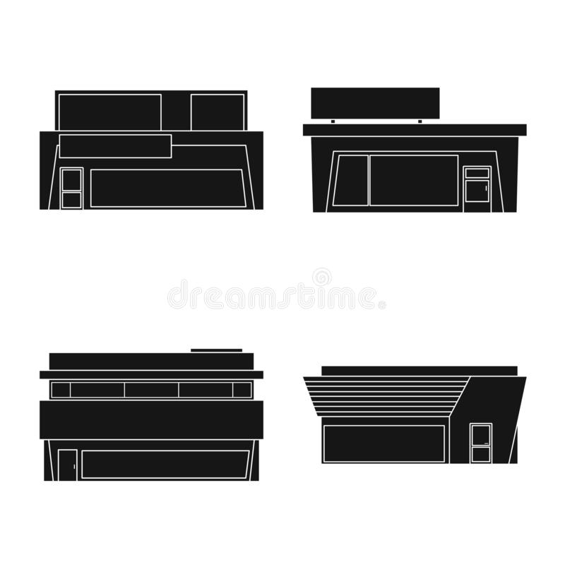 Geïsoleerd voorwerp van architectuur en cityscape symbool Reeks van architectuur en supermarkt vectorpictogram voor voorraad vector illustratie