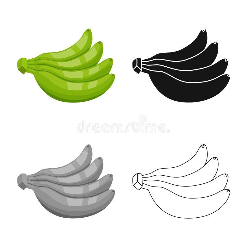 Geïsoleerd voorwerp van banaan en bosembleem Reeks van banaan en voedselvoorraad vectorillustratie royalty-vrije illustratie