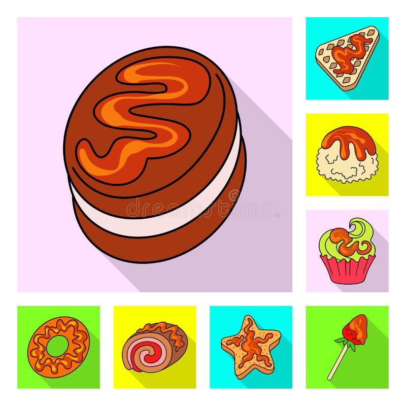 Geïsoleerd voorwerp van banketbakkerij en culinair embleem Inzameling van banketbakkerij en kleurrijk voorraadsymbool voor Web vector illustratie