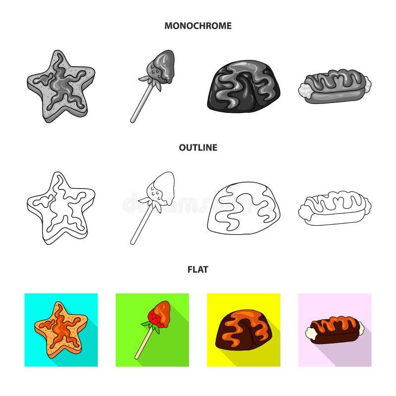 Geïsoleerd voorwerp van banketbakkerij en culinair pictogram Reeks van banketbakkerij en product vectorpictogram voor voorraad stock illustratie