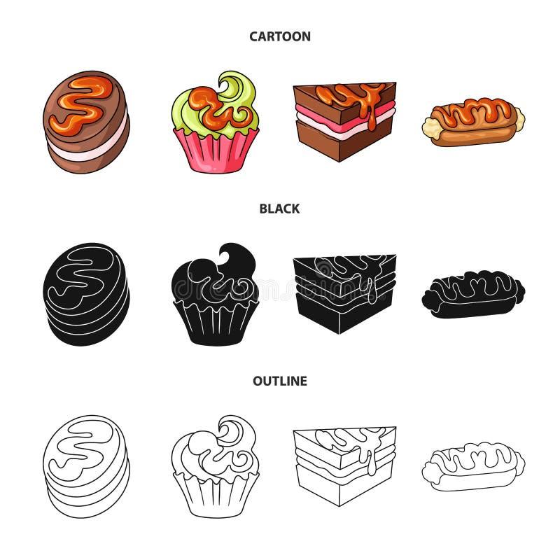 Geïsoleerd voorwerp van banketbakkerij en culinair pictogram Reeks van banketbakkerij en productvoorraadsymbool voor Web vector illustratie