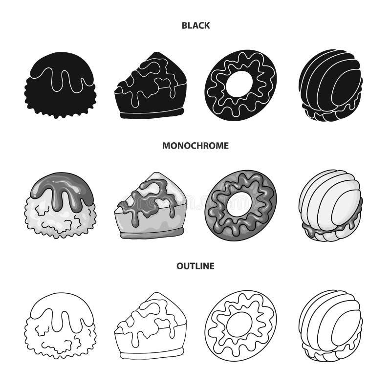 Geïsoleerd voorwerp van banketbakkerij en culinair symbool Inzameling van banketbakkerij en productvoorraadsymbool voor Web royalty-vrije illustratie