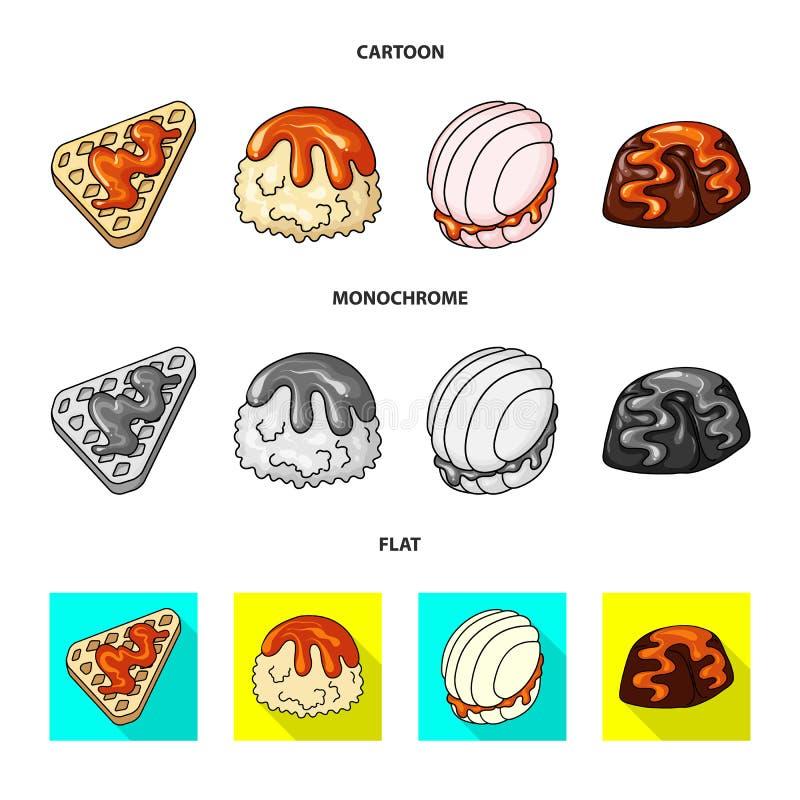 Geïsoleerd voorwerp van banketbakkerij en culinair symbool Inzameling van banketbakkerij en productvoorraadsymbool voor Web stock illustratie