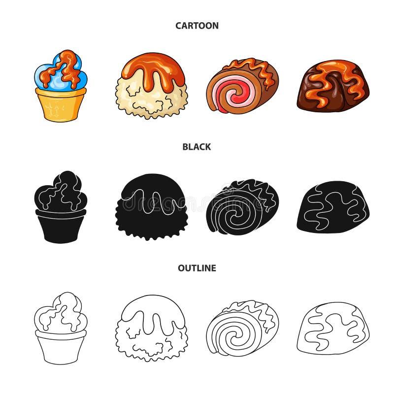 Geïsoleerd voorwerp van banketbakkerij en culinair symbool Reeks van banketbakkerij en product vectorpictogram voor voorraad royalty-vrije illustratie
