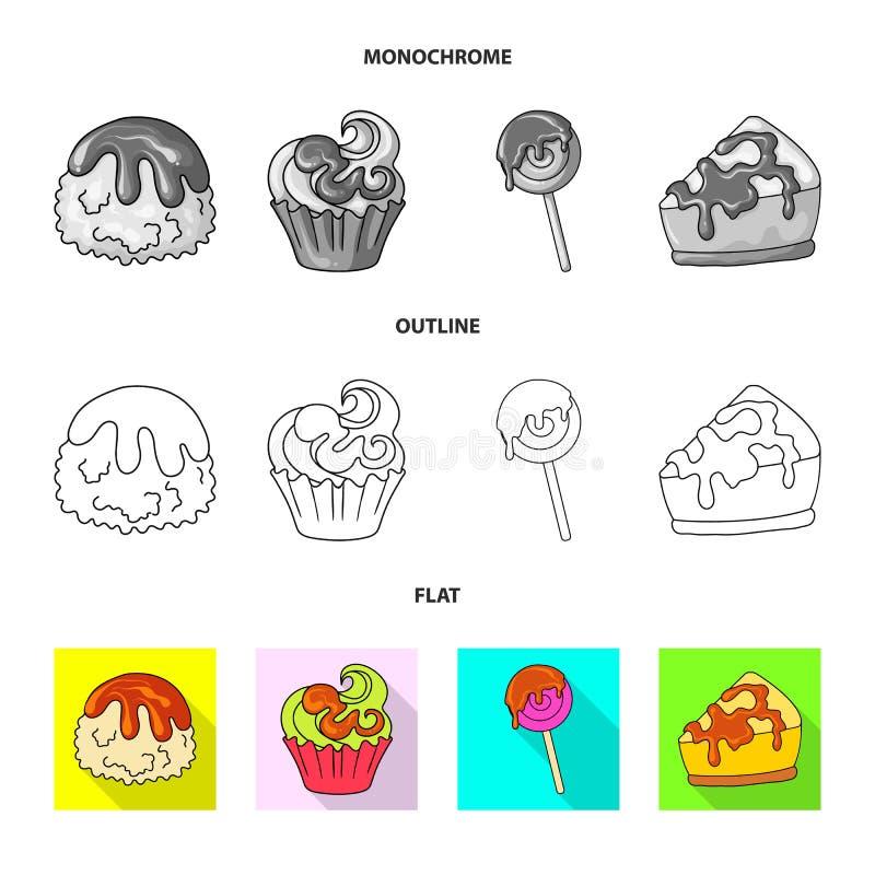Geïsoleerd voorwerp van banketbakkerij en culinair symbool Reeks van banketbakkerij en productvoorraad vectorillustratie stock illustratie
