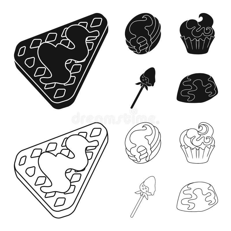 Geïsoleerd voorwerp van banketbakkerij en culinair symbool Reeks van banketbakkerij en productvoorraadsymbool voor Web vector illustratie