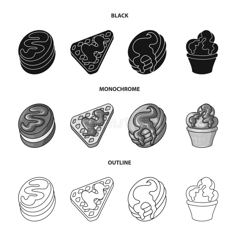Geïsoleerd voorwerp van banketbakkerij en culinair teken Inzameling van banketbakkerij en productvoorraadsymbool voor Web royalty-vrije illustratie
