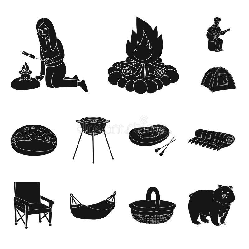 Geïsoleerd voorwerp van barbecue en rust pictogram Reeks van barbecue en aard vectorpictogram voor voorraad stock illustratie