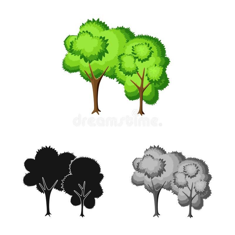 Geïsoleerd voorwerp van boom en vergankelijk embleem Inzameling van boom en groen voorraadsymbool voor Web royalty-vrije illustratie