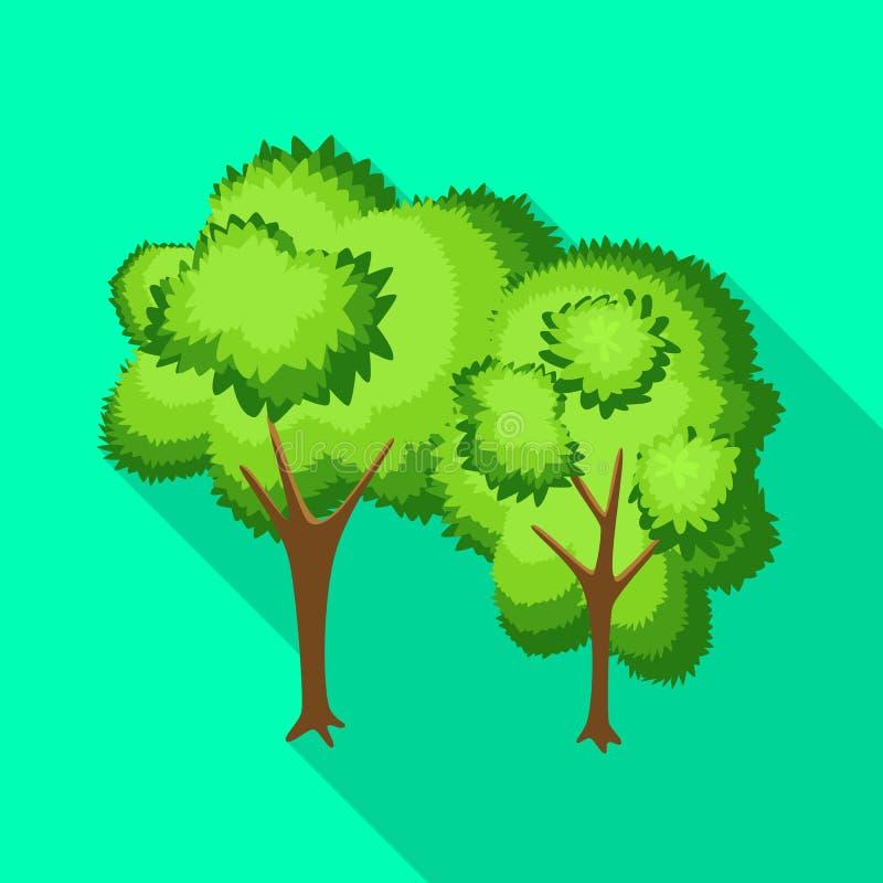 Geïsoleerd voorwerp van boom en vergankelijk teken Reeks van boom en groen voorraadsymbool voor Web stock illustratie