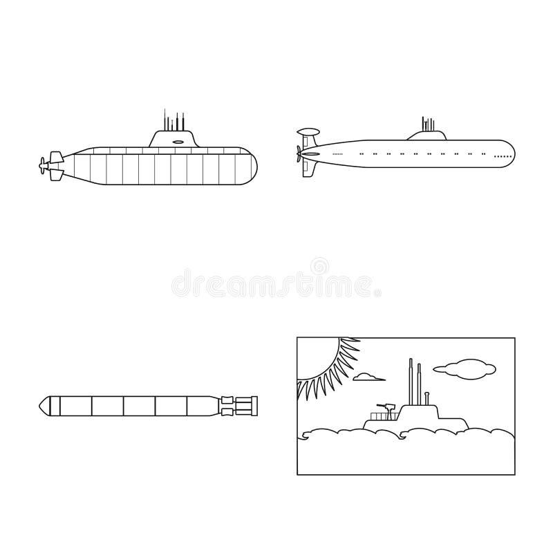Geïsoleerd voorwerp van boot en marinesymbool Reeks van boot en diepe voorraad vectorillustratie vector illustratie
