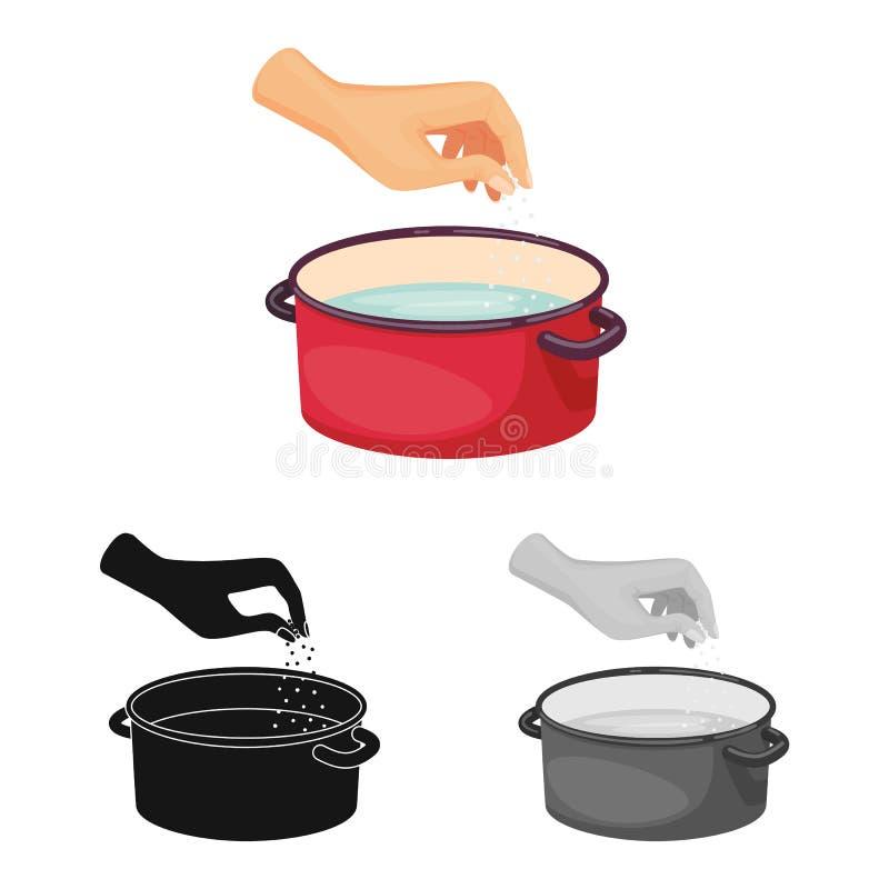 Geïsoleerd voorwerp van braadpan en waterembleem Reeks van braadpan en wapenvoorraadsymbool voor Web stock illustratie