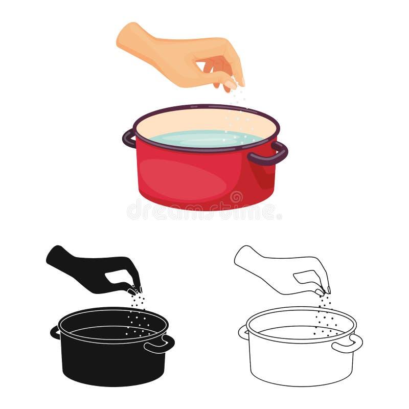 Geïsoleerd voorwerp van braadpan en watersymbool Inzameling van braadpan en wapenvoorraadsymbool voor Web royalty-vrije illustratie