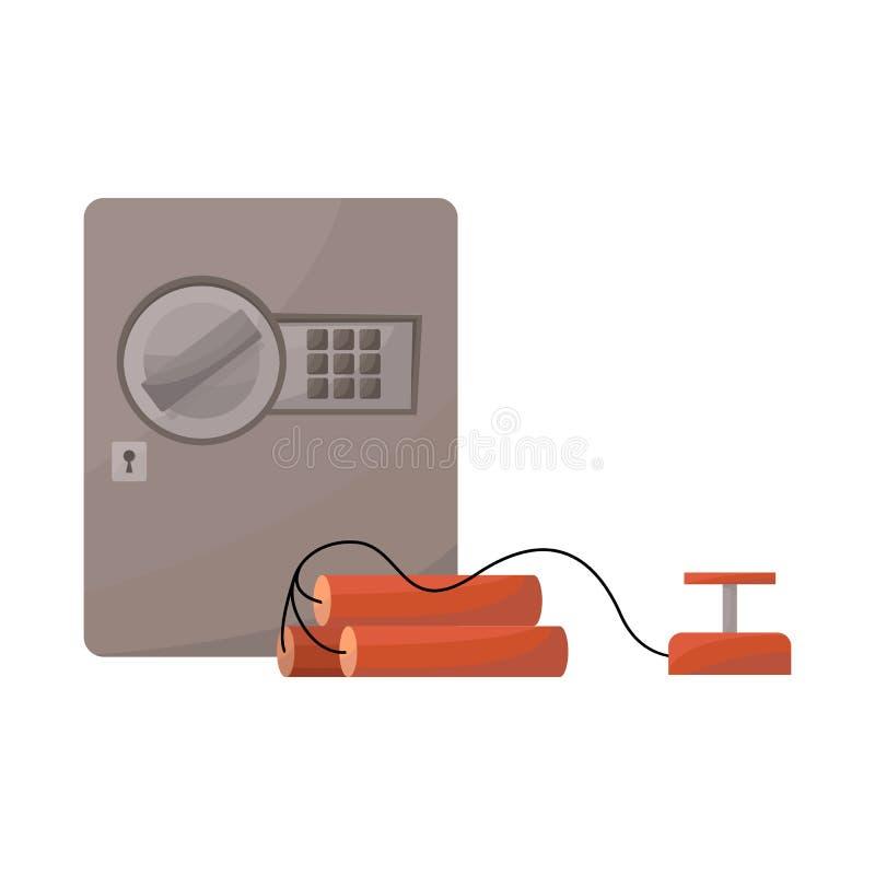 Geïsoleerd voorwerp van brandkast en dynamietsymbool Reeks van brandkast en bankkapitaalsymbool voor Web stock illustratie