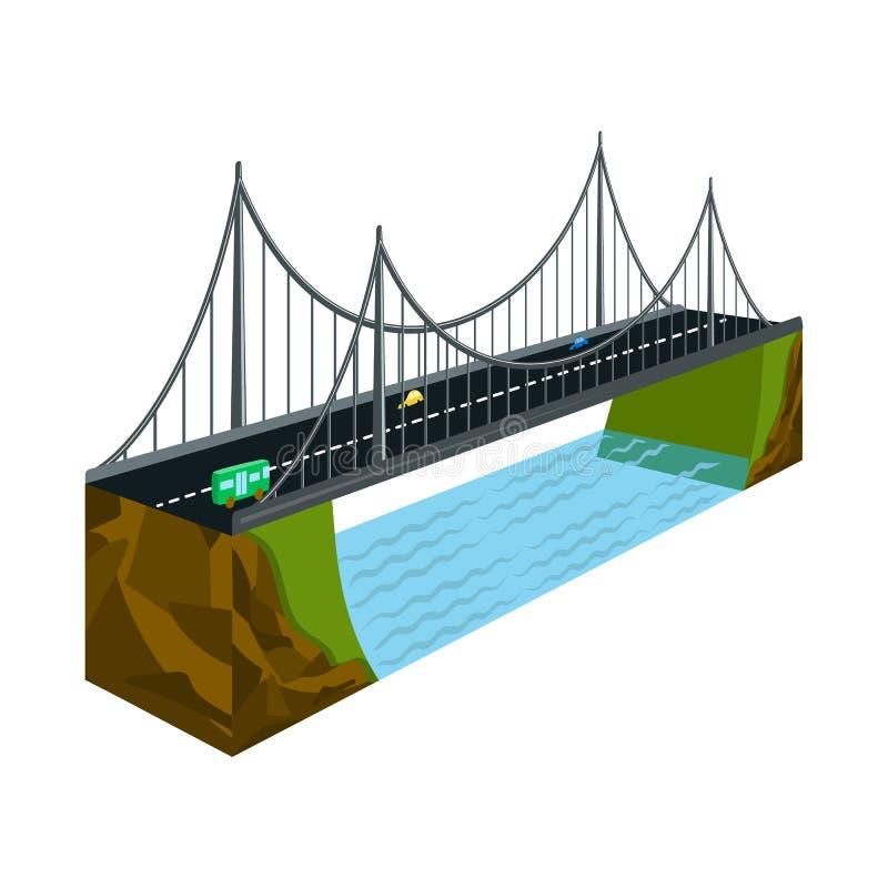 Geïsoleerd voorwerp van brug en rotssymbool Inzameling van brug en baksteenvoorraad vectorillustratie vector illustratie