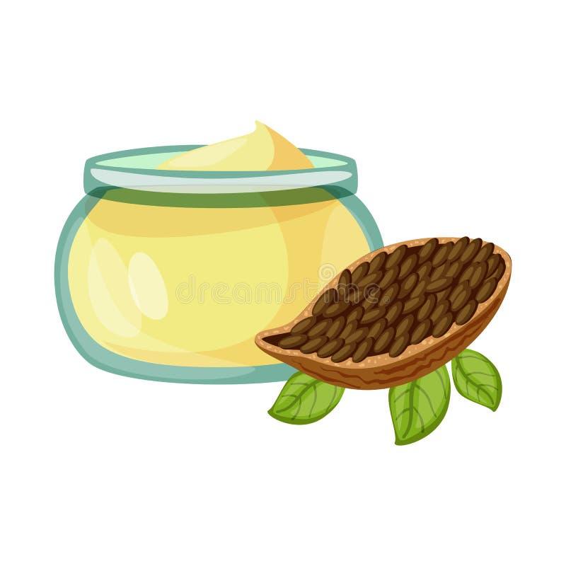 Geïsoleerd voorwerp van cacao en boterpictogram Inzameling van cacao en nogavoorraad vectorillustratie royalty-vrije illustratie