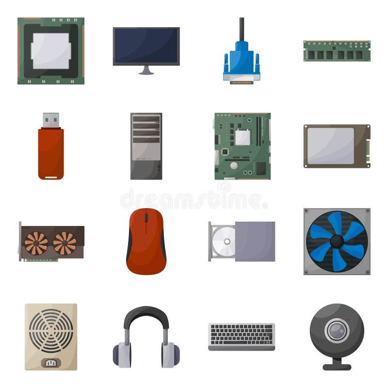 Geïsoleerd voorwerp van computer en hardwarepictogram Reeks van computer en componentenvoorraad vectorillustratie vector illustratie