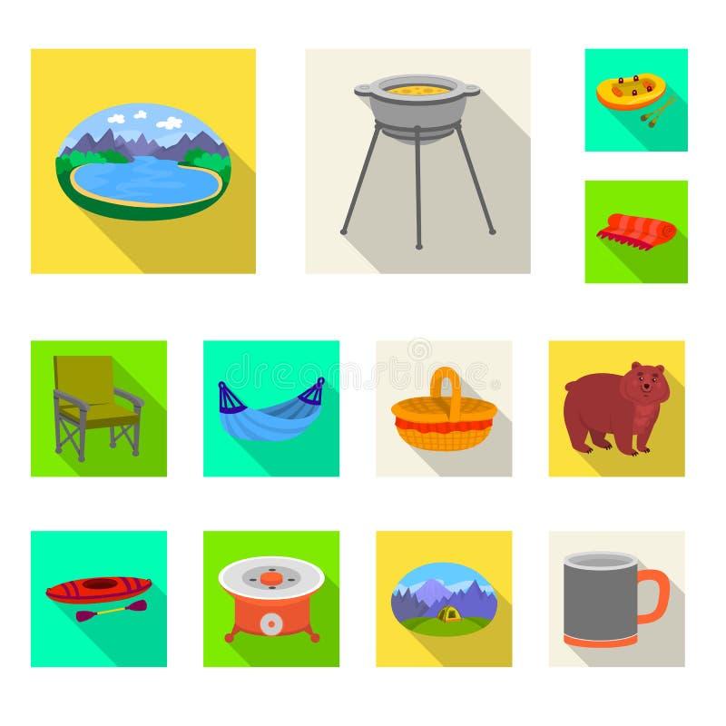 Geïsoleerd voorwerp van cookout en het wildsymbool Reeks van cookout en rust voorraadsymbool voor Web stock illustratie