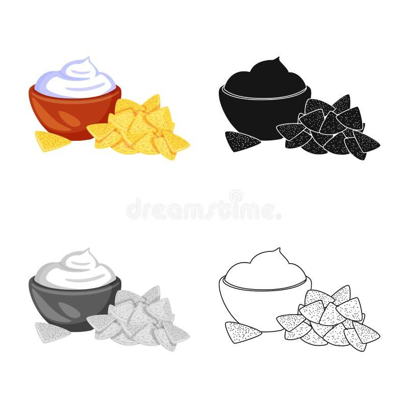 Geïsoleerd voorwerp van cracker en koekjesteken Reeks van cracker en roomvoorraadsymbool voor Web vector illustratie