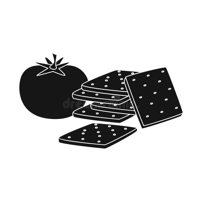 Geïsoleerd voorwerp van cracker en tomatenpictogram Reeks van cracker en het symbool van de landbouwvoorraad voor Web stock illustratie