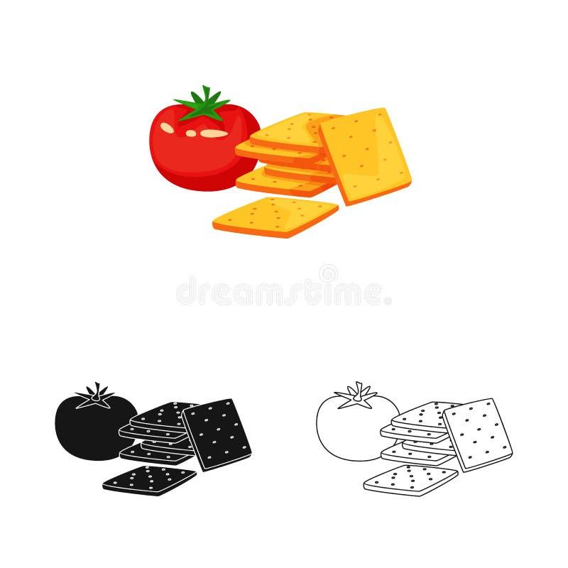 Geïsoleerd voorwerp van cracker en tomatenpictogram Reeks van cracker en landbouw vectorpictogram voor voorraad royalty-vrije illustratie