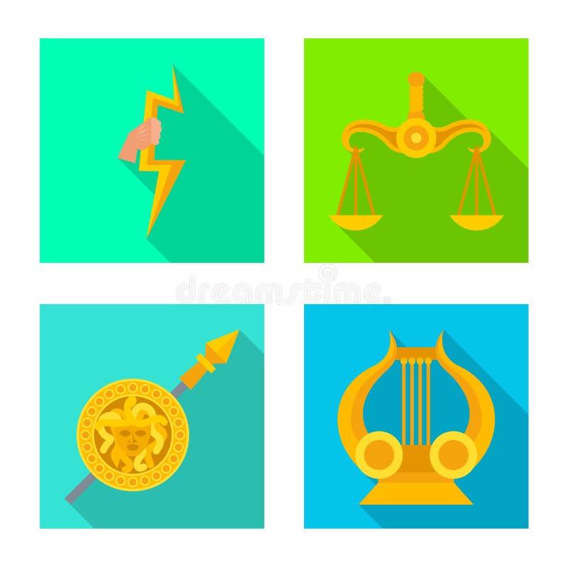 Geïsoleerd voorwerp van deity en antiek embleem Inzameling van deity en van de mythenvoorraad symbool voor Web stock illustratie